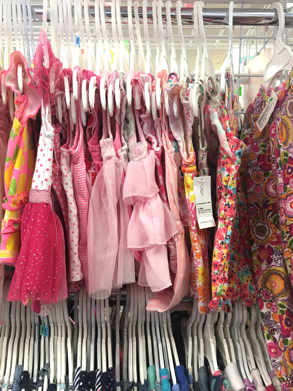Adorable pink frilly dresses? They have 'em.