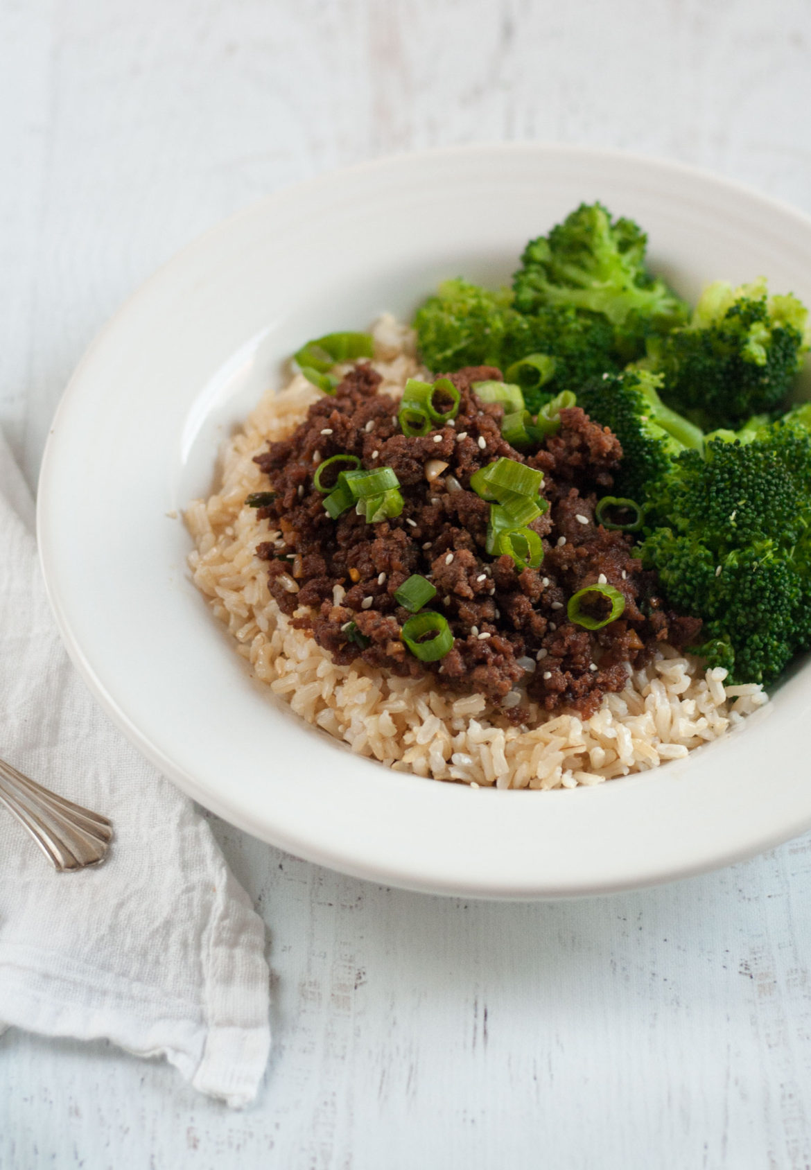 easy asian Korean ground beef dinner bowl