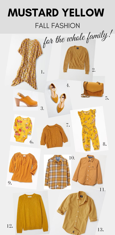 mustard yellow fall fashion trend kids baby women men