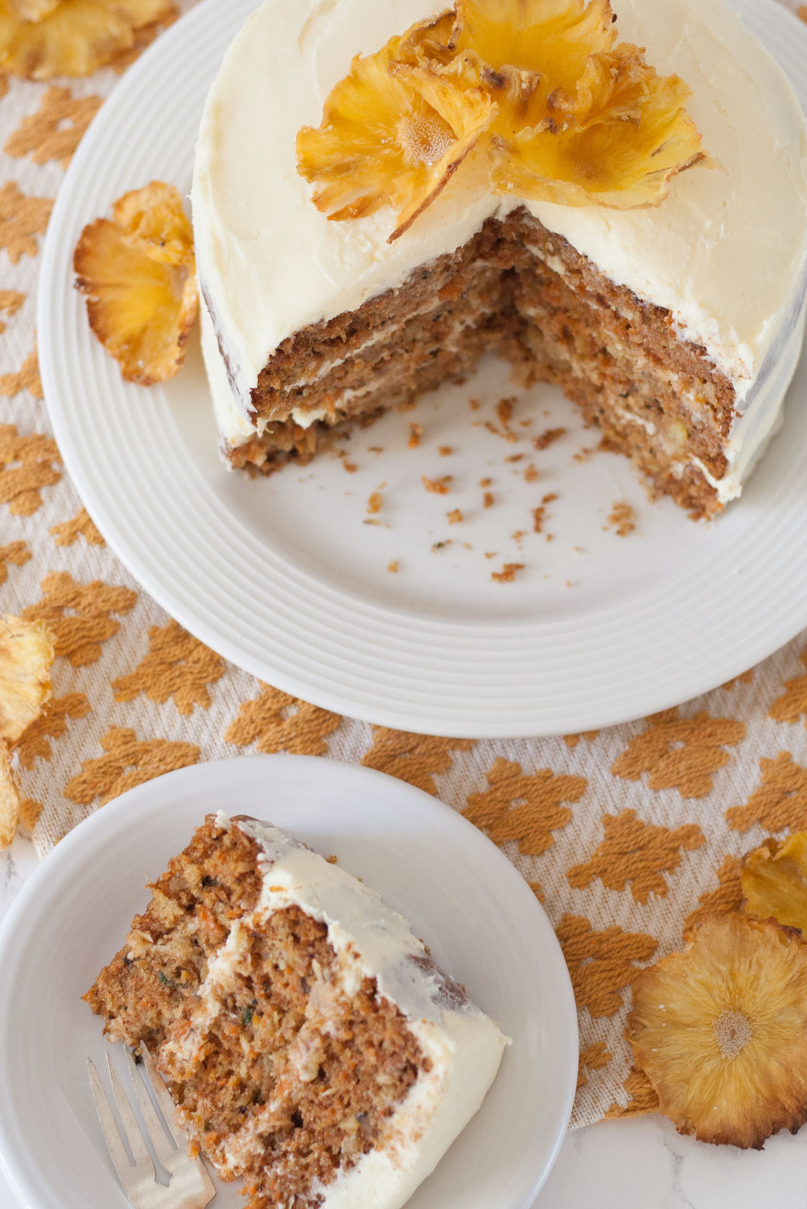 best ever moist naked carrot cake recipe with crushed pineapple and pineapple flowers