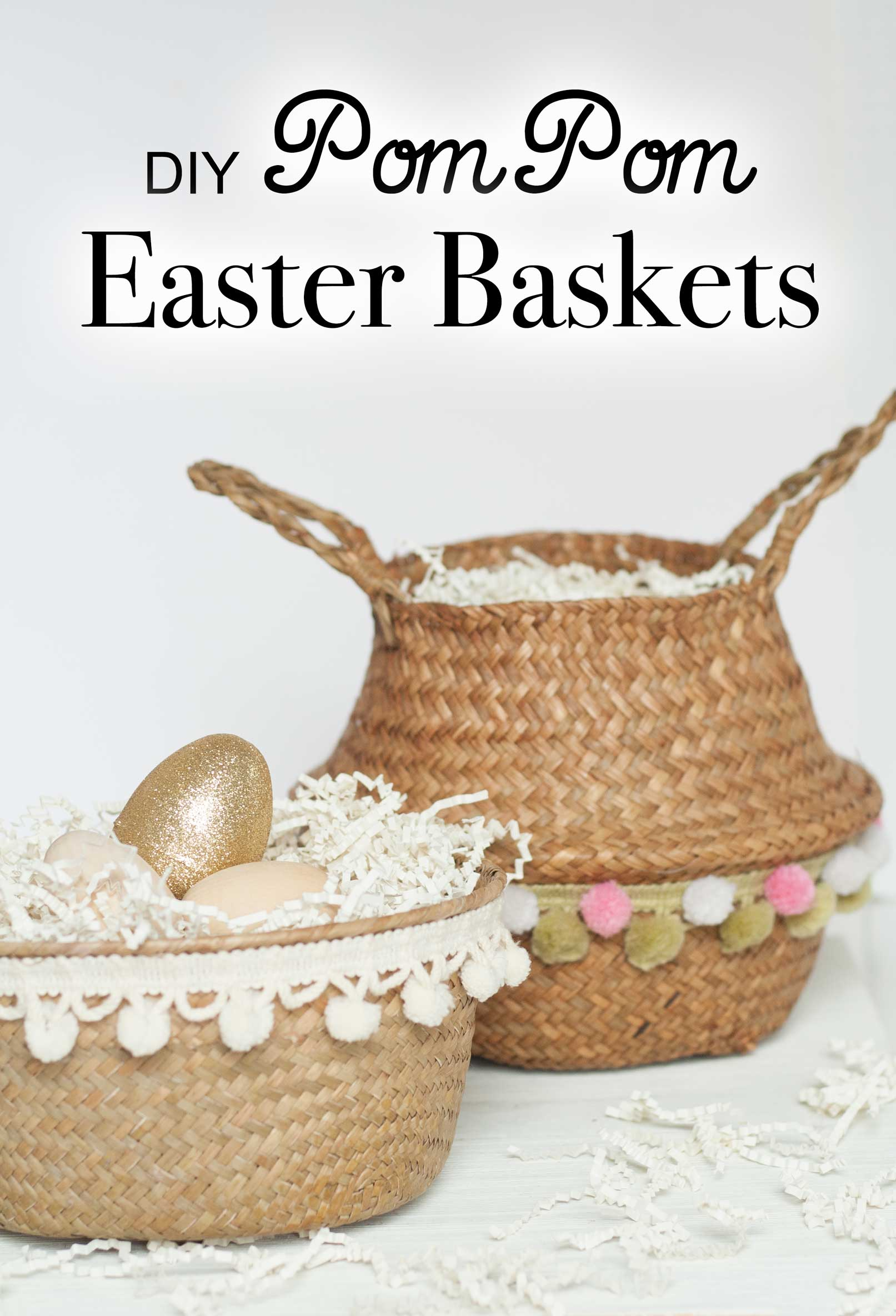 quick easy diy pom pom natural chic easter basket